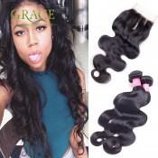 Virgin Brazilian Hair With Closure Brazilian Body Wave With Closure 4PCS Lot Brazilian Virgin Hair With Closure Natural Black
