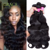 Grace Hair Products Peruvian Body Wave 4pcs Lot 7A Peruvian Human Hair Bundles Body Wave Natural Black Peruvian Virgin Hair