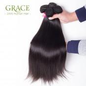 7A Brazilian Virgin Hair With closure 3/4 Bundles Brazilian Virgin Hair Straight With Closure 100% Mink Brazilian Hair