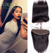 Mink Peruvian Virgin Hair Straight Lace Frontal Closure With Baby Hair 13*4 Peruvian Full Lace Frontal Closure Bleached Knots