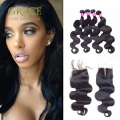 Peruvian Virgin Hair Body Wave With Closure 5Pcs/lot Peruvian Body Wave 7A Grade Peruvian Hair Bundles With Lace Closures