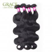 Grace Hair Company Peruvian Body Wave 5 Pcs/Lot Natural Black Human Hair Peruvian Virgin Hair Body Wave With Closure Wholesale