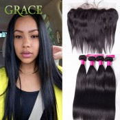 13×4 Lace Frontal Closure with Bundles Straight Brazilian Virgin Hair with Frontal Closure Bundle Human Hair Frontal Closure
