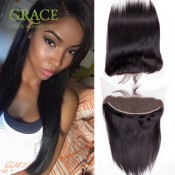 7A Human Hair Malaysian Lace Frontal Closure 13×4 With Baby Hair Bleached Knots Virgin Straight Malaysian Lace Frontals