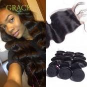 Brazilian Body Wave Lace Closure With Bundles 5PCS/LOT 7A Julia Virgin Hair With Closure Brazilian Body Wave With Closure