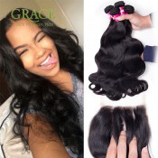 Body Wave Brazilian Virgin Hair With Closure 5pcs Lot Queens Hair Bundles With Lace Closures Brazilian Body Wave With Closure