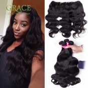 13*4 Ear To Ear Body Wave Lace Frontal Closure With 3 Bundles Brazilian Virgin Human Hair lace frontal bleached knots