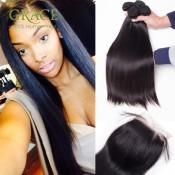 7A Brazilian Virgin Hair With Closure 5pcs/lot Brazilian Virgin Hair Straight With Closure 100% Virgin Brazilian Straight Hair