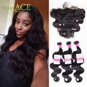 13X4 Ear To Ear Lace Frontal Closure With Bundles 3Pcs Human Hair Weave With Full Frontal Lace Closure With Baby Hair Rosa Hair