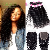 Cexxy Hair Products Malaysian Curly Hair Weave 4Bundles With Lace Closure Top Malaysian Deep Wave Virgin Hair With Closure