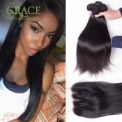 Brazilian Lace Closure With Bundles Body Wave 4pcs Lot Brazilian Virgin Hair Straight With Closure Wholesale Grace Hair Company