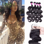 3/4 Bundles With Closure 7A Brazilian Virgin Hair With Closure Queen Hair Brazilian Body Wave Brazilian Hair Weave Bundles