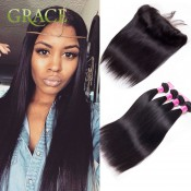 13×4 Peruvian Lace Frontal Closure With Bundles Peruvian Virgin Hair Straight With Closure Ear To Ear Baby Hair Bleached Knot