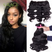 7A Queen Hair Products With Closure Bundle 4Pcs/Lot 13*4 Malaysian Lace Frontal Closure With Bundles Rosa Malaysian Body Wave