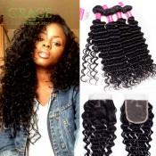 Brazilian Deep Wave With Closure 4pcs/lot Unice Hair With Closure Brazilian Deep Wave Hair Brazilian Curly Hair With Closure