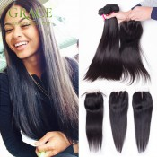 Grace Hair Products Brazilian Virgin Hair With Closure 5 Pcs Lot Brazilian Virgin Hair Straight With Closure 7A Brazilian Hair