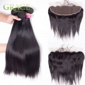 Ear To Ear Lace Frontal Closure With Bundles Straight Peruvian Virgin Hair With Closure Bundle Lace Frontal With Bundles