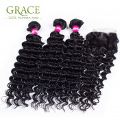 Peruvian Curly Hair With Closure 4 Bundles Modern Show Hair Peruvian Deep Wave 6A Peruvian Deep Curly With Closure Full End
