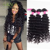 Hot Selling Peruvian Virgin Hair Curly Weave 3pcs Lot Peruvian Deep Wave 100% Human Hair Extension Peruvian Curly Hair Bundles