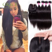 Brazilian Straight Hair With Closure 7A 4 Pcs/lot Brazilian Virgin Hair Straight With Closure Brazilian Straight Hair Sexay
