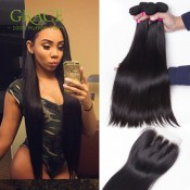Queen Hair Products Brazilian Hair Weave Bundles 7A Brazilian Hair Bundles 5 Pcs/lot Brazilian Virgin Straight Hair With Closure