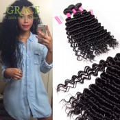 Peruvian Deep Wave Virgin Curly Hair Natural Black Unprocessed Peruvian Curly Weave 2PCS Lot Peruvian Curly Virgin Hair Bundles