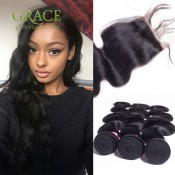 5PCS/LOT Rosa Hair Products With Closure Peruvian Virgin Hair Body Wave With Closure Peruvian Hair Bundles With Lace Closures