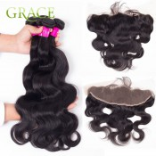 13*4 Ear To Ear Body Wave Lace Frontal Closure With 3 Bundles Human Perfect Swiss Lace With Protective Band Longqi Beauty Hair