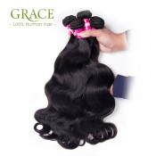 Grace Hair Products Peruvian Body Wave 4pcs Lot 7A Peruvian Human Hair Bundles Body Wave Natural Black Peruvian Virgin Hair
