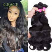 Brazilian Virgin Hair Body Wave With 3 BUNDLES 7A Rosa Hair Wholesale Brazilian Hair Weave Bundles1B# Natural Color