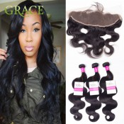 Ear To Ear Lace Frontal Closure With Bundles Human Hair Body Wave With Lace Frontal Weave From Ear To Ear Brazilian VIP Beauty