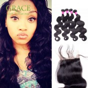Queen Hair Products With Closure Bundle Brazilian Body Wave With Closure 4PCS Lot Natural Black Brazilian Hair With Closure